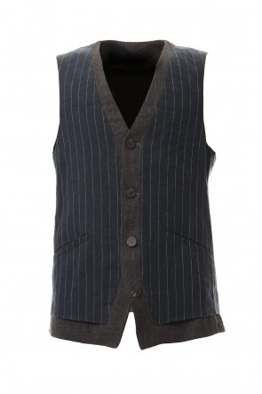 DEVOA 20SS Vest Linen viscose stripe Dark Navy