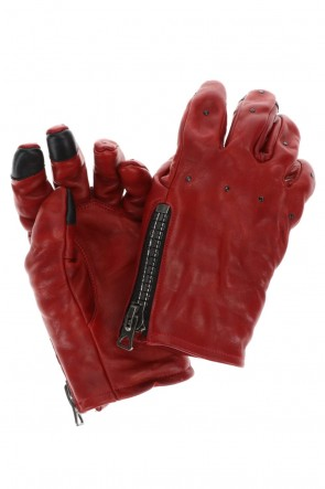 D.HYGEN21-22AWHorse Leather Nail ZIP Gloves Red