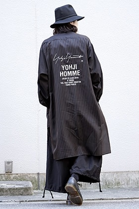 Yohji Yamamoto Striped Cupro Staff Shirt and Tuck Pants