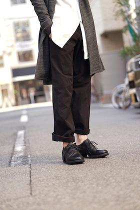 DEVOA Wide Pants Cotton Linen Rip Stop Black Style