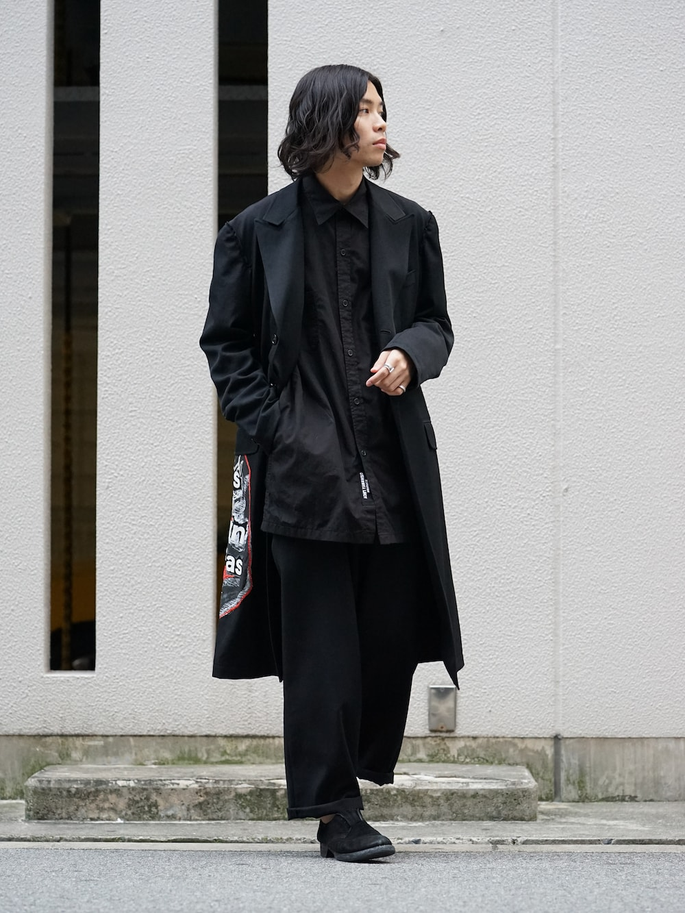 Yohji Yamamoto Print Embroidery Long Jacket  01