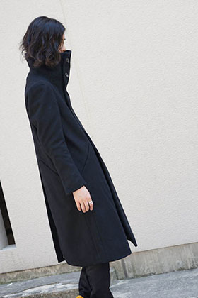 The Viridi-anne 17-18AW High Neck Long Coat  Coordinate