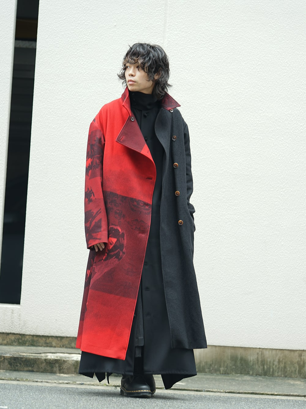 Yohji Yamamoto 18AW Red flannel right front dress coat Style 01