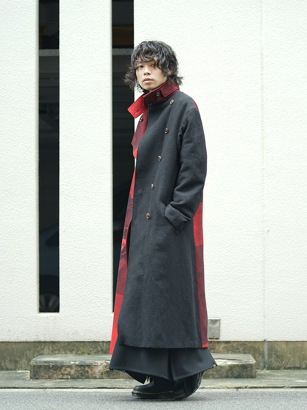 Yohji Yamamoto 18AW Red flannel right front dress coat Style 02