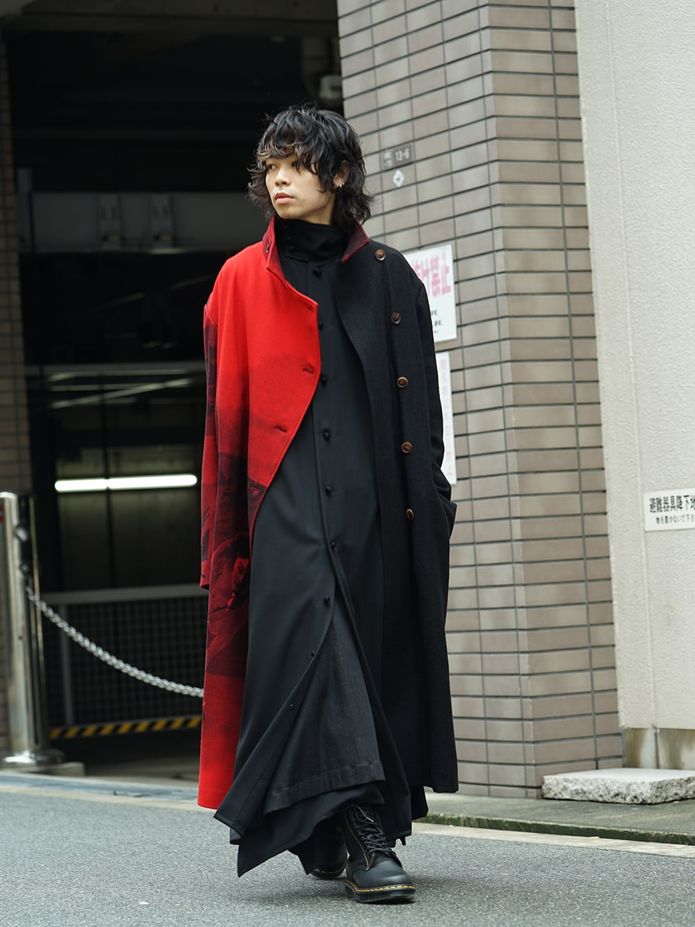 Yohji Yamamoto 18AW Red flannel right front dress coat Style 03