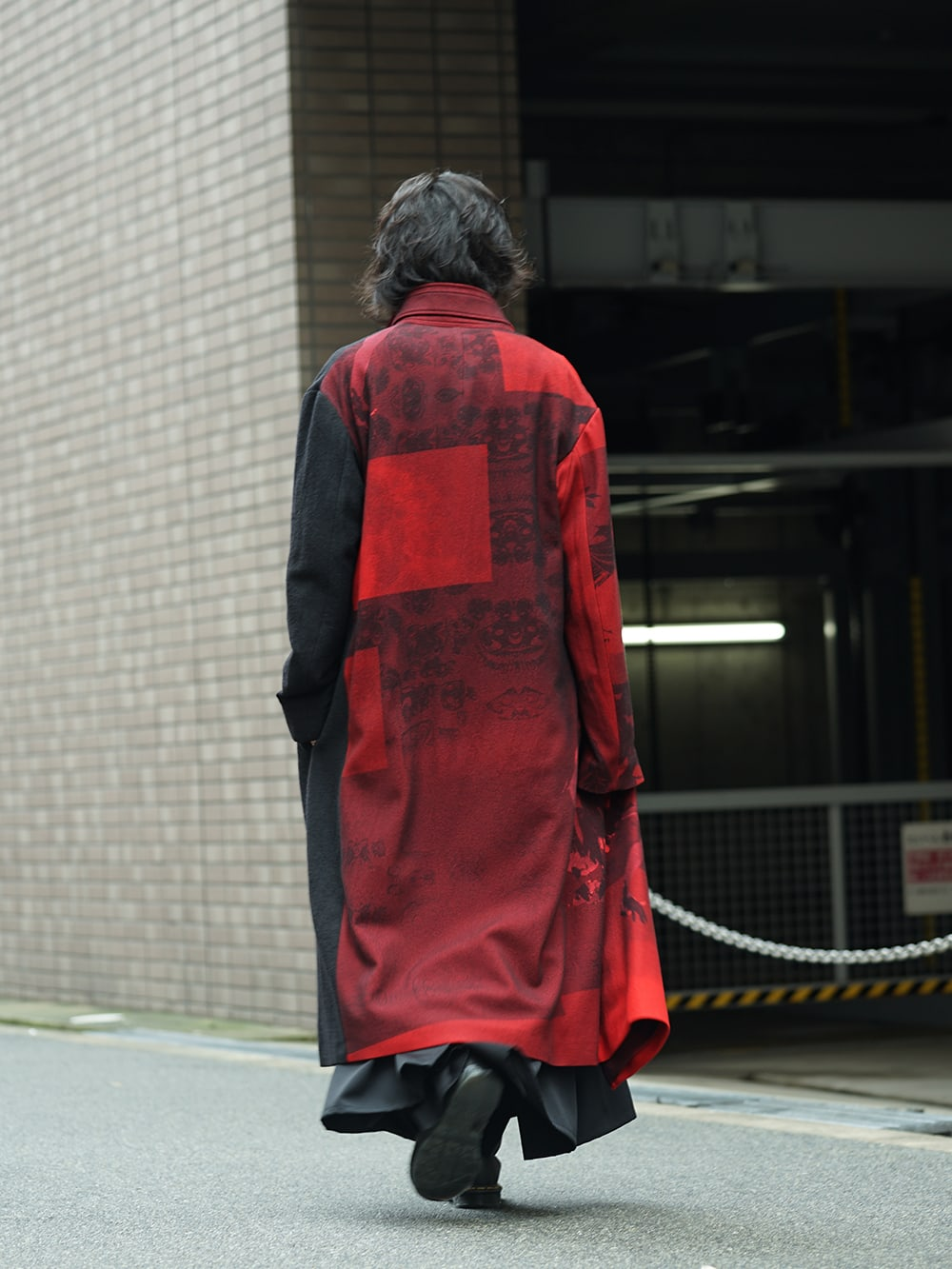 Yohji Yamamoto 18AW Red flannel right front dress coat Style 04