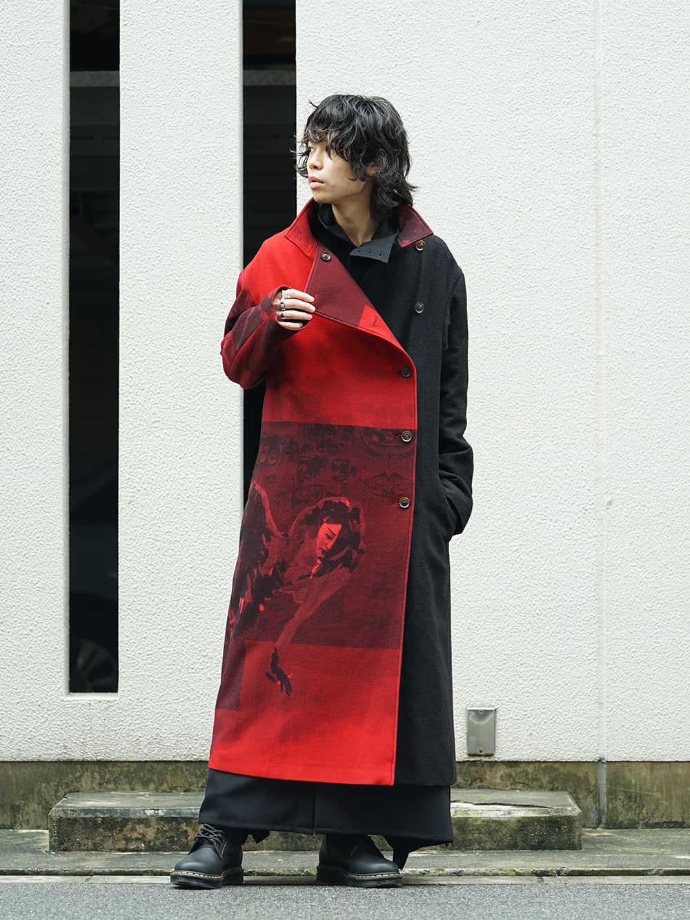 Yohji Yamamoto 18AW Red flannel right front dress coat Style 05