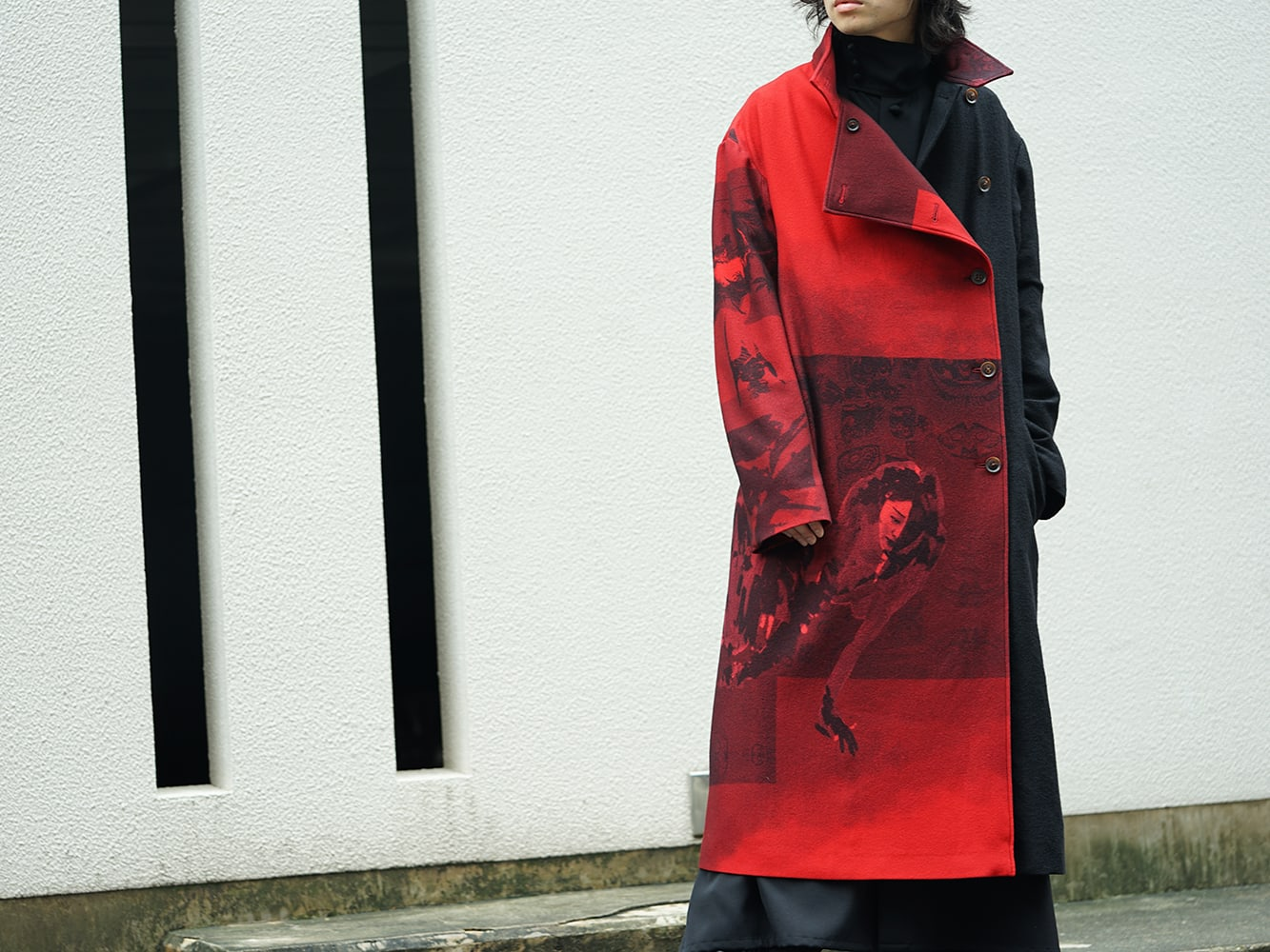 Yohji Yamamoto 18AW Red flannel right front dress coat Style 06