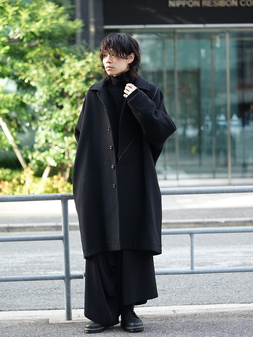 B Yohji Yamamoto Wool Viyella Bias Fastener Coat Style 01