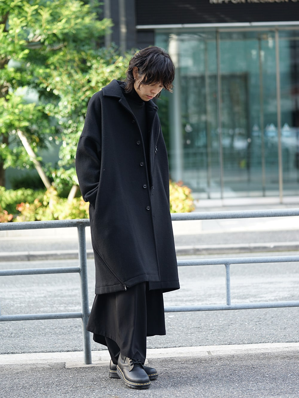 B Yohji Yamamoto Wool Viyella Bias Fastener Coat Style 02