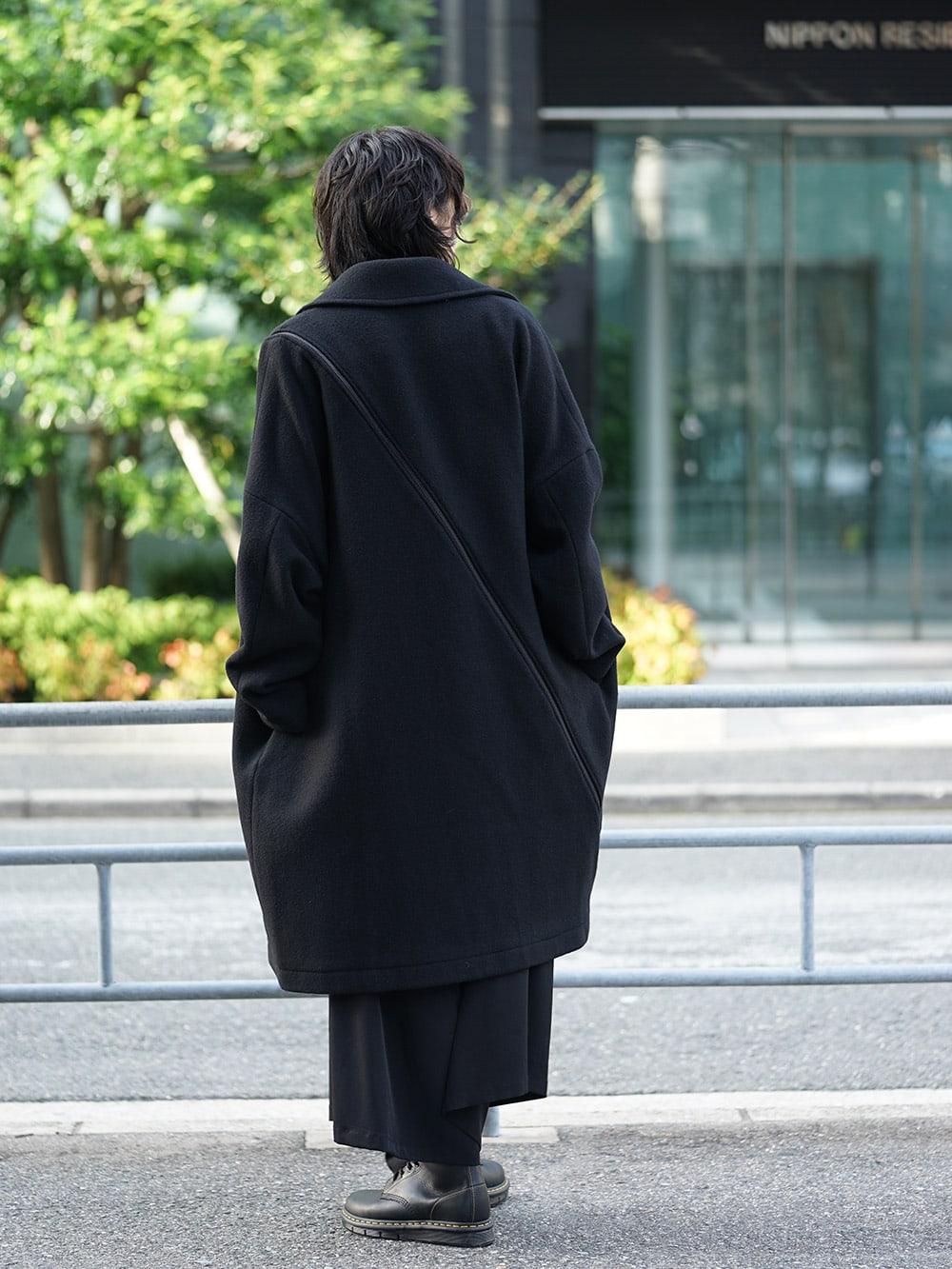 B Yohji Yamamoto Wool Viyella Bias Fastener Coat Style 03