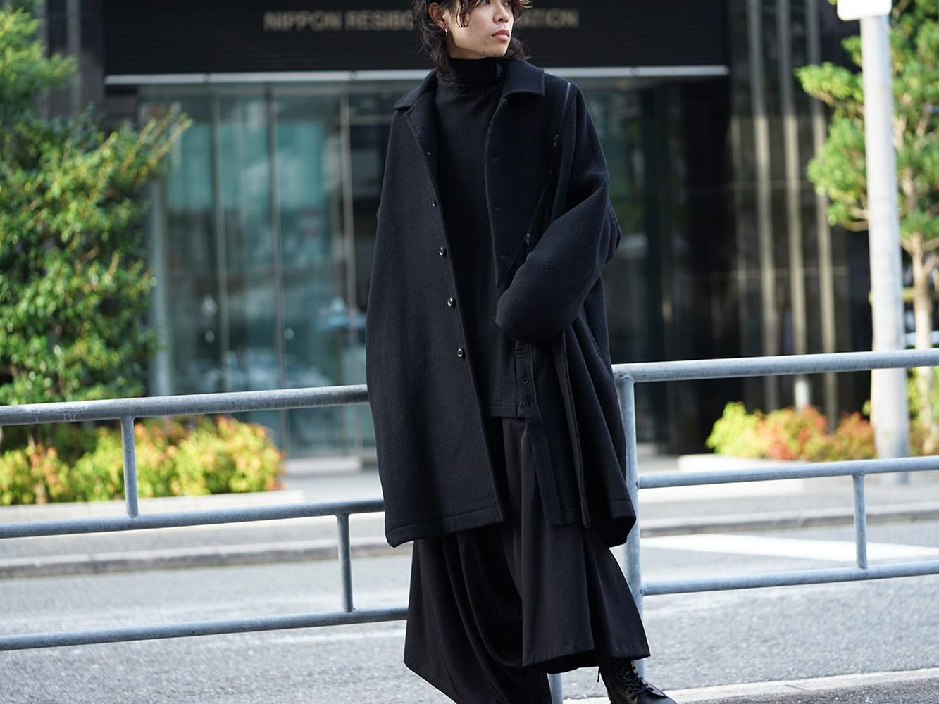 B Yohji Yamamoto Wool Viyella Bias Fastener Coat Style 04