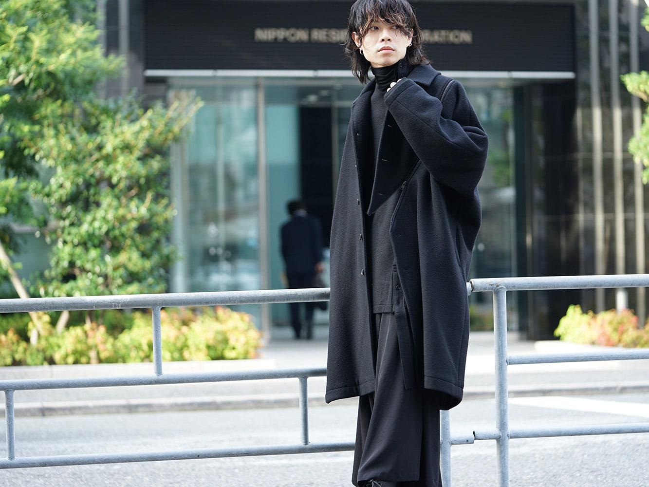 B Yohji Yamamoto Wool Viyella Bias Fastener Coat Style 05