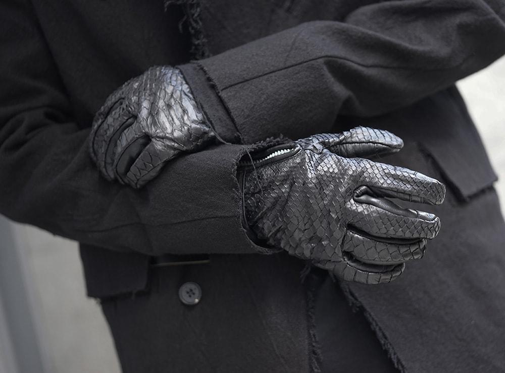 D.HYGEN Python×Horse leather glove New-008