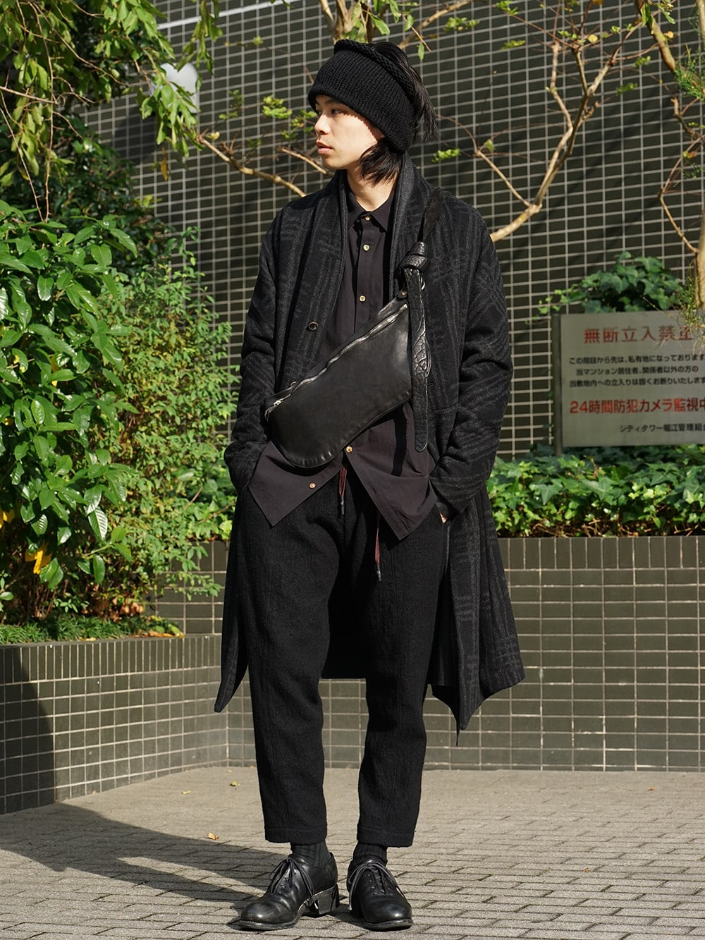 individual sentiments 18AW Grid Pattern Jaquard Wool Beaver Finished Coat Style 01