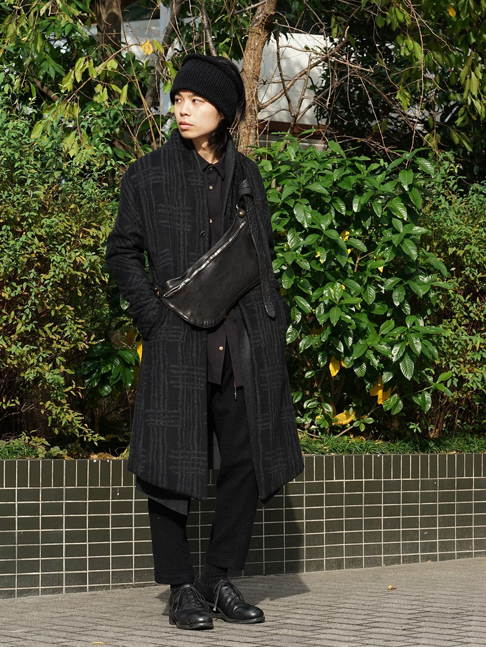 individual sentiments 18AW Grid Pattern Jaquard Wool Beaver Finished Coat Style 02