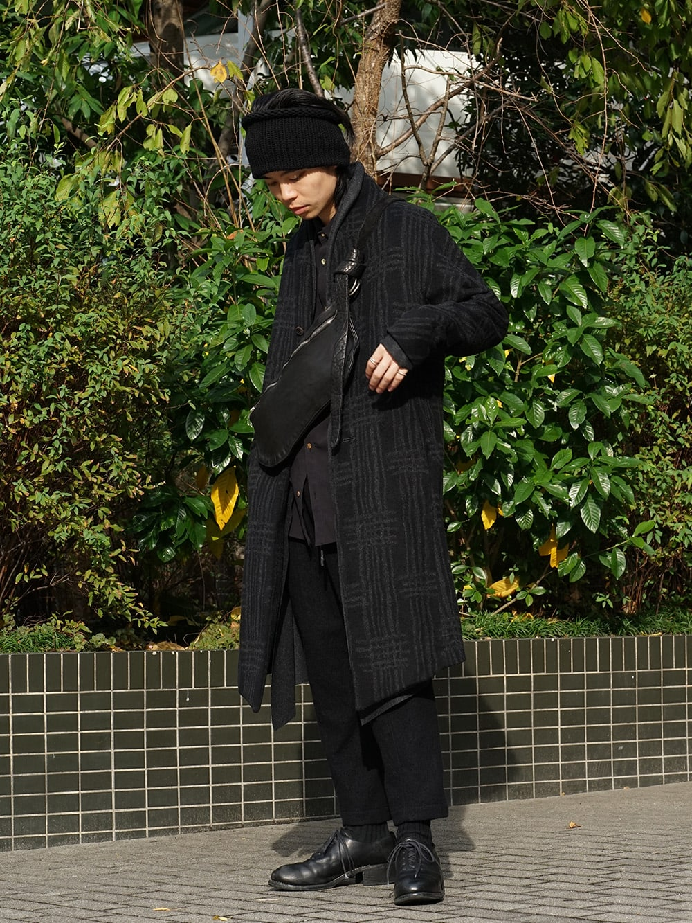 individual sentiments 18AW Grid Pattern Jaquard Wool Beaver Finished Coat Style 03