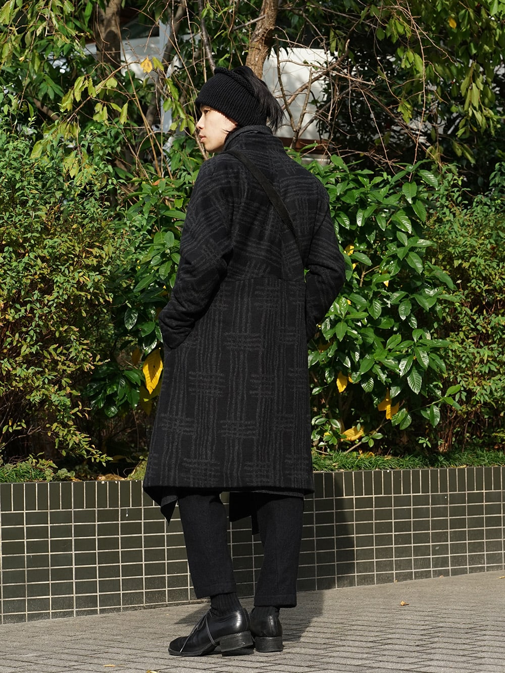 individual sentiments 18AW Grid Pattern Jaquard Wool Beaver Finished Coat Style 04