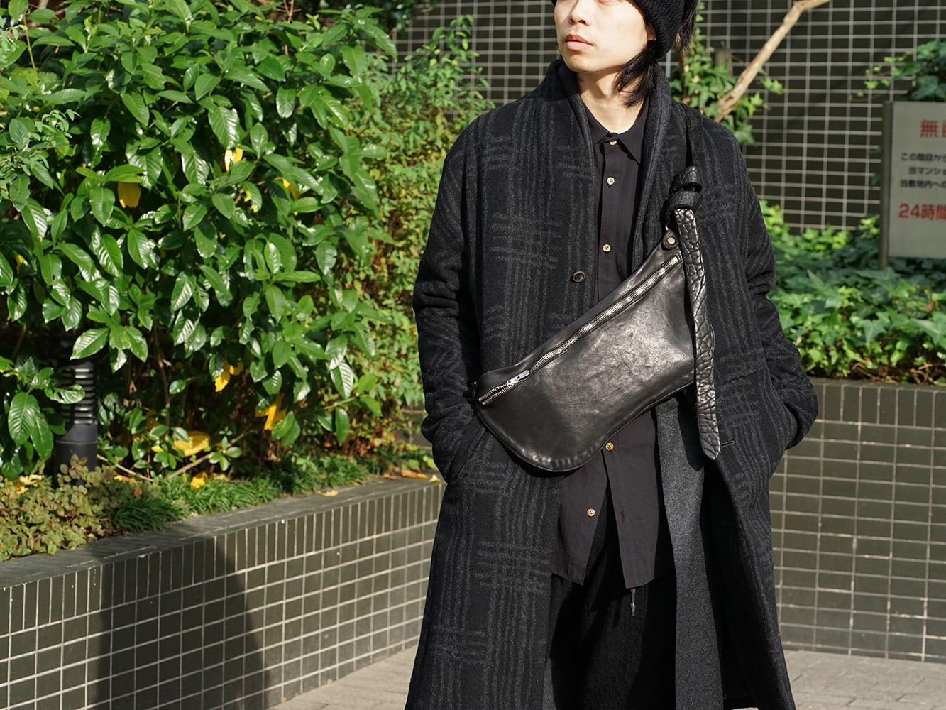 individual sentiments 18AW Grid Pattern Jaquard Wool Beaver Finished Coat Style 06