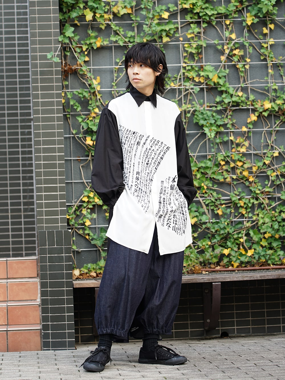 Yohji Yamamoto 19SS Message Print Staff Shirt style 01