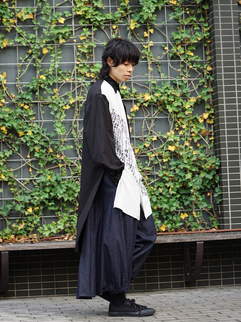 Yohji Yamamoto 19SS Message Print Staff Shirt style 02