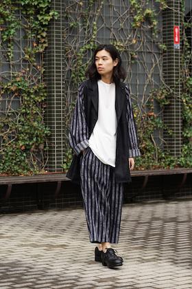 Yohji Yamamoto SS18 Stripe Shirt jacekt and Pants Style