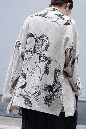 Yohji Yamamoto SS18 Yoke Sleeve Hemp Pattern Jacket Style