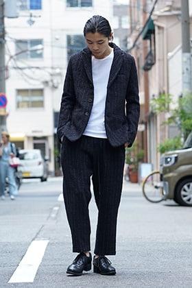 individual sentiments Wool / Cotton Slab Yarn Tweed Suit Style