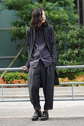 DEVOA 18-19AW Wool Gabardine Long shirts Layered Style