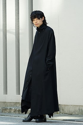 Yohji Yamamoto 18AW Collared Tab Coat Dress Wool Viyella Style