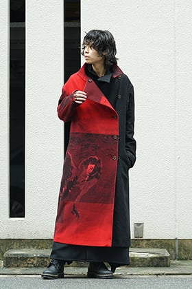 Yohji Yamamoto 18AW Red flannel right front dress coat Style