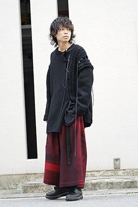 Yohji Yamamoto 18AW Leather Lace Seam Grafting Knit Style
