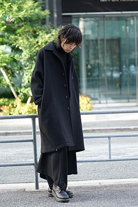 B Yohji Yamamoto Wool Viyella Bias Fastener Coat Style