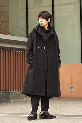 Yohji Yamamoto 18AW W hooded coat knit mossa Style