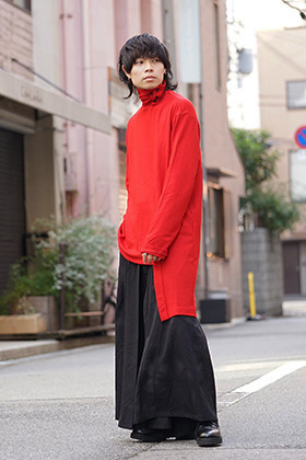 Yohji Yamamoto 18AW Red color Turtle Milled Washable Jersey Style