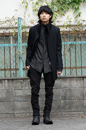 D.hygen High neck Coat Black Winter style