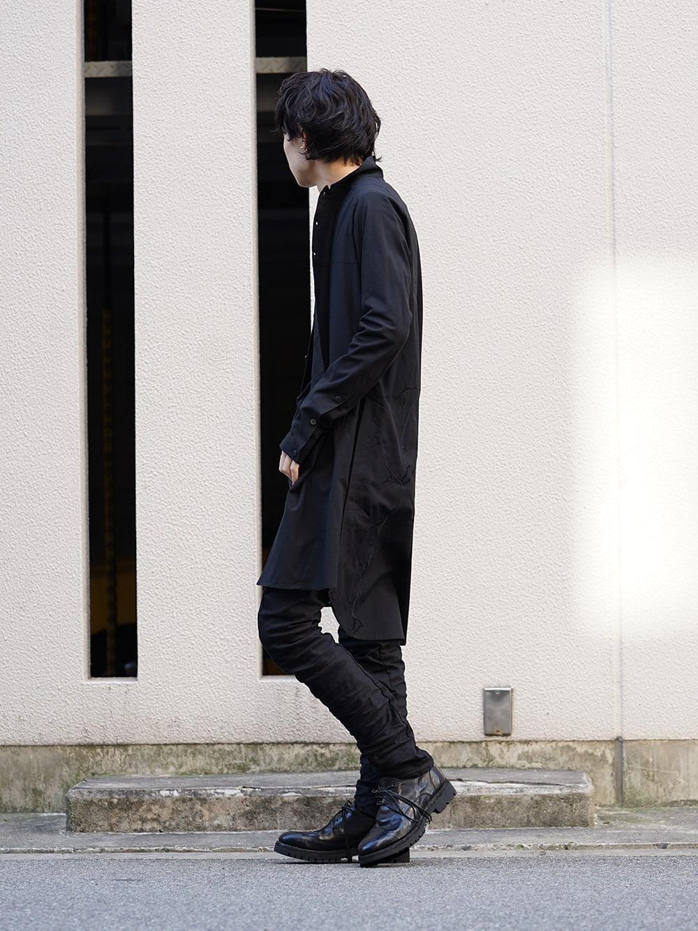 D.hygen 19SS Silk cotton Embroidered long shirt Black style