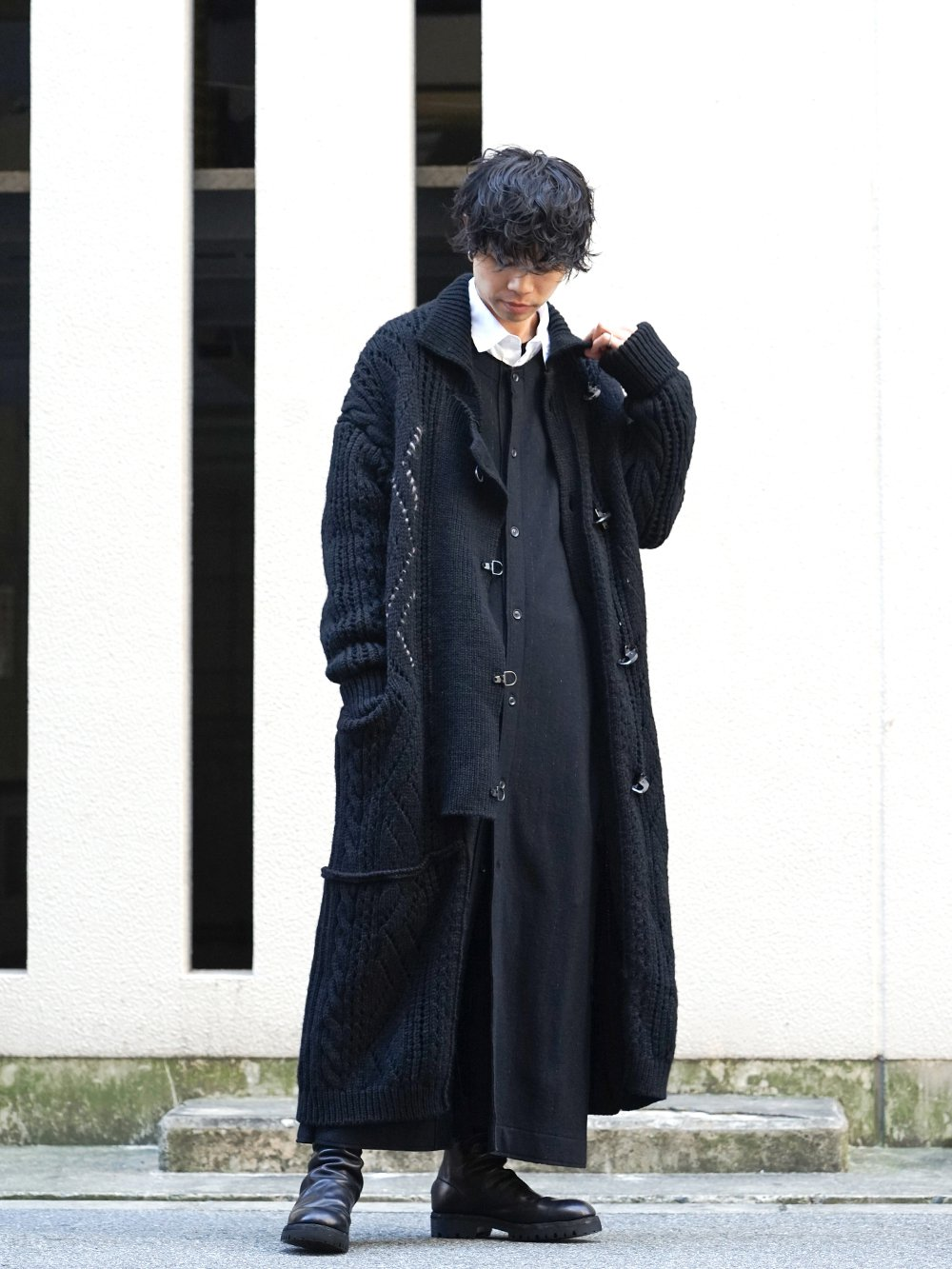 Yohji Yamamoto 19-20AW No Collar Long Cardigan Layered Style - 1-001