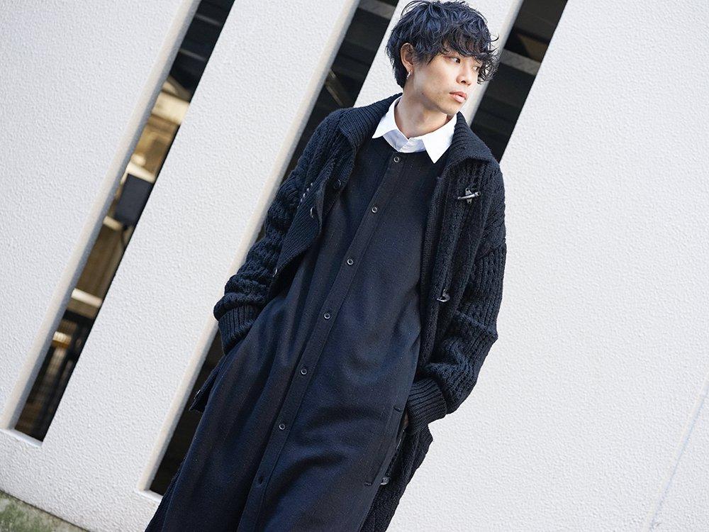 Yohji Yamamoto 19-20AW No Collar Long Cardigan Layered Style - 2-001