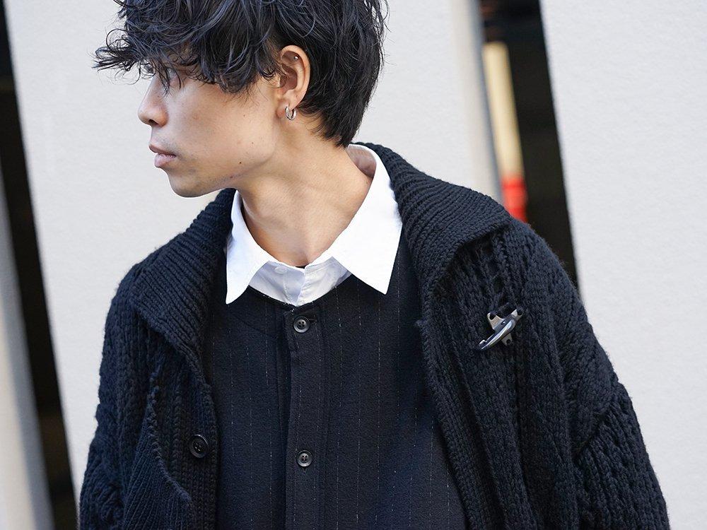 Yohji Yamamoto 19-20AW No Collar Long Cardigan Layered Style - 2-002