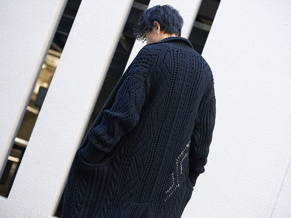 Yohji Yamamoto 19-20AW No Collar Long Cardigan Layered Style - 2-005