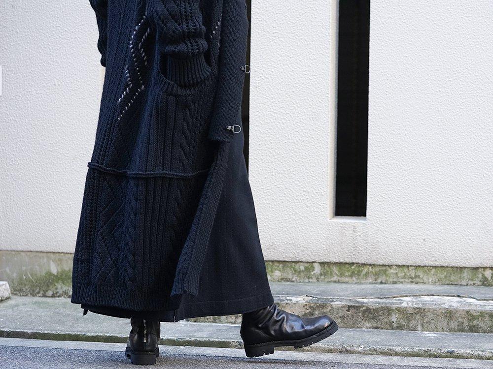 Yohji Yamamoto 19-20AW No Collar Long Cardigan Layered Style - 3-002