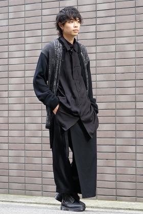 Yohji Yamamoto 19-20AW Dictionary print 7G Knit Cardigan Style