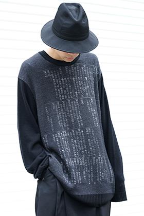 Yohji Yamamoto 19-20AW Dictionary print 7G Knit Top Style
