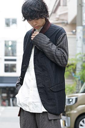 ZIGGY CHEN 19-20AW No Collar Stripe Sleeve Jacket Style