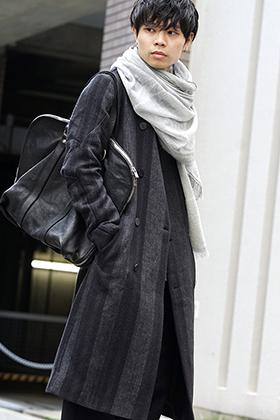 DEVOA Camel Linen Gradation Striped Coat Style