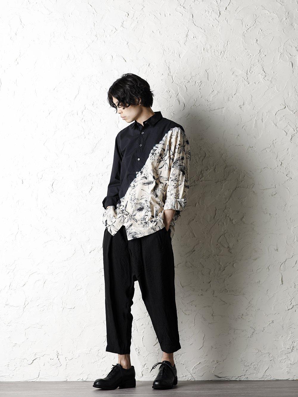 SUZUSAN 20SS  Long Sleeve Shirt Diagonal Shibori Boushi Style - 1-001