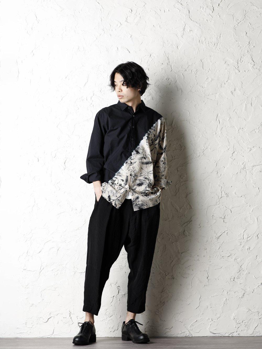 SUZUSAN 20SS  Long Sleeve Shirt Diagonal Shibori Boushi Style - 4-001