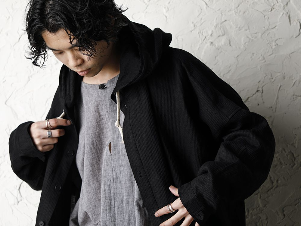 O project 20SS Stripe linen Hooded Shirts Jacket Style - 2-001