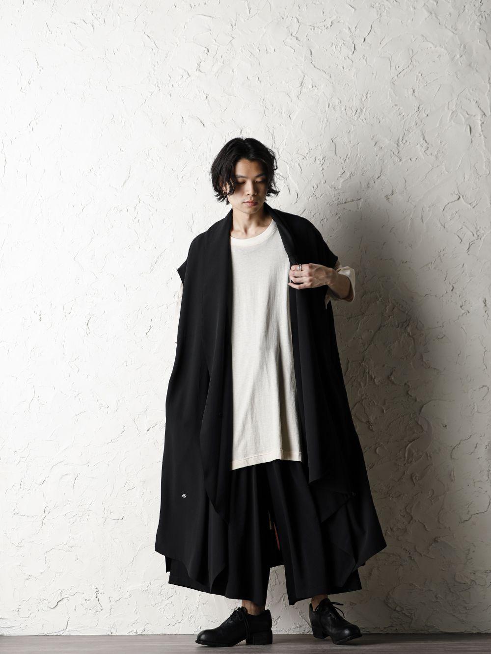 Rondo.ym 20SS Silk Georgette Phoenix and Fan Embroidery Kimono Sleeve Coat Style - 1-001